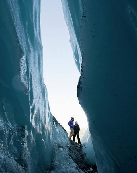 Hip Photograph - Two Women Stand Looking Into Crevasse by Brian Caissie