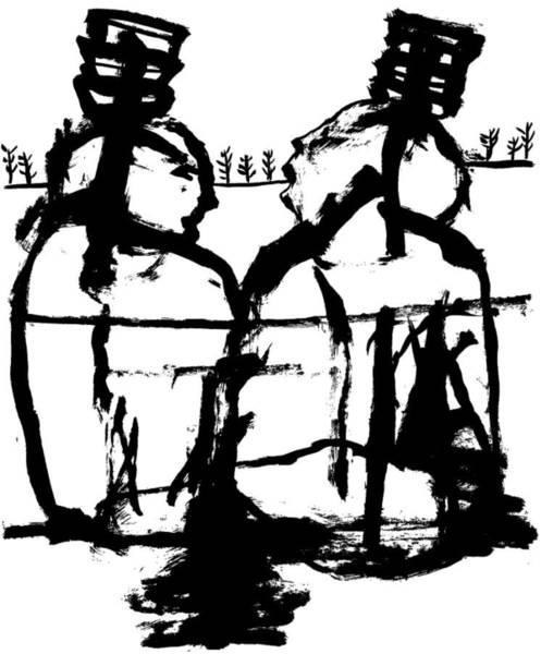 Drawing - Two Women Talking by Artist Dot