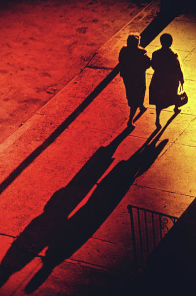 Photograph - Two Women Walking On Pavement, Elevated by Alfred Gescheidt