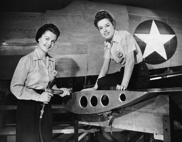 Working Photograph - Two Women Working On Airplane by George Marks