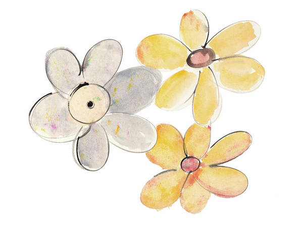 Wall Art - Painting - Two Yellows And One Grey by Susan Bryant