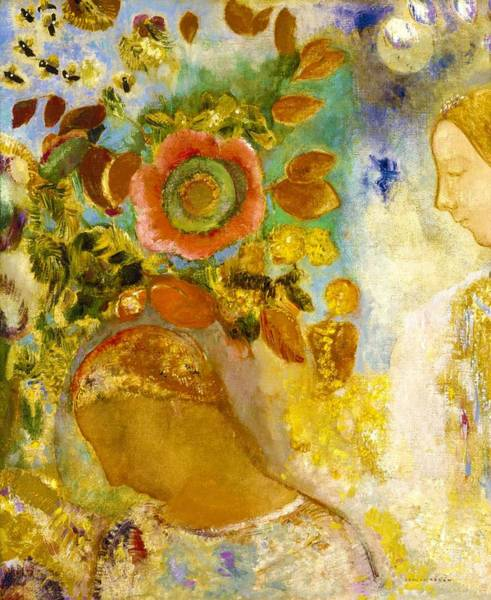 Wall Art - Painting - Two Young Girls Among Flowers - Digital Remastered Edition by Odilon Redon