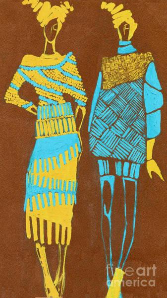 Elegant Lady Wall Art - Digital Art - Two Young Models. Hand Drawn by Alina Shakhovets