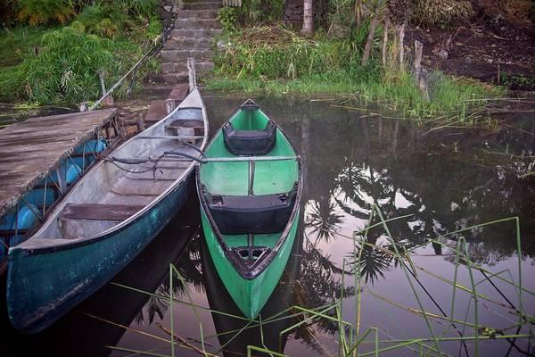 Wall Art - Photograph - Twp Canoes Green And Blue by Douglas Barnett