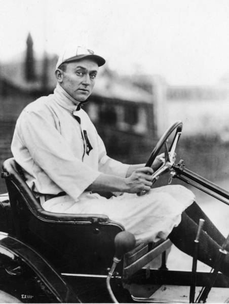 Photograph - Ty Cobb Driving Car In Uniform by Authenticated News