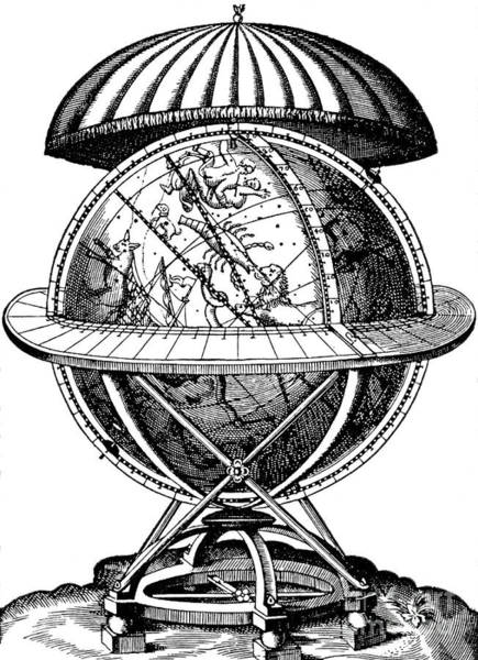Wall Art - Drawing - Tycho Brahe, Celestial Globe by English School
