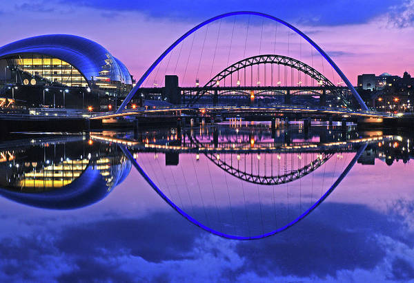 Gateshead Millennium Bridge Photograph - Tyne Blue by D W Horner