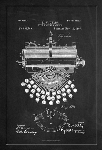 Digital Art - Type Writing Machine Patent Drawing From 1897 - Charcoal by Carlos Diaz