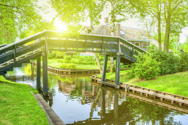 Waters Edge Photograph - Typical Bridge In Giethoorn, Netherlands by Cirano83