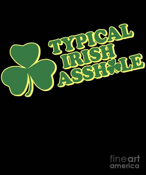 Sarcastic Wall Art - Digital Art - Typical Irish Asshole St Patricks Day by Flippin Sweet Gear