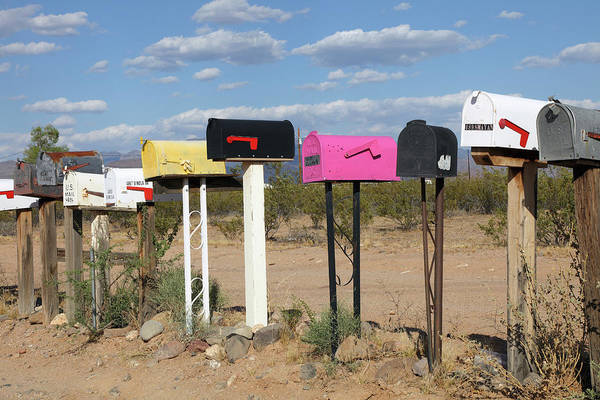 Wall Art - Photograph - Typical Mail Boxes Near Kingman by Rainer Grosskopf