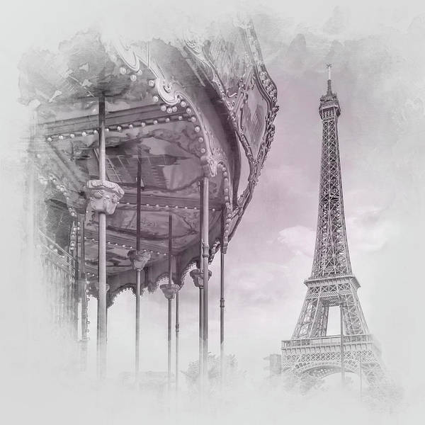 Wall Art - Photograph - Typical Paris - Grey Pink Watercolor by Melanie Viola