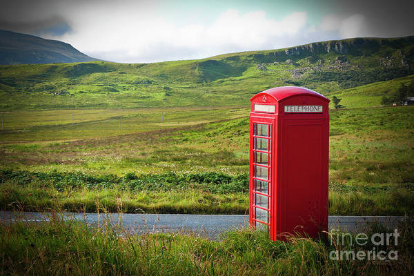 Typical Red English Telephone Box In A Rural Area Near A Road. Art Print