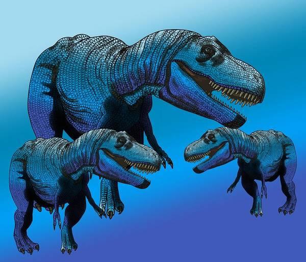 Drawing - Tyrannosaurus Blue 3 by Joan Stratton