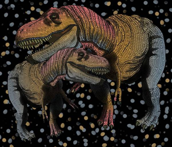 Drawing - Tyrannosaurus Pair by Joan Stratton