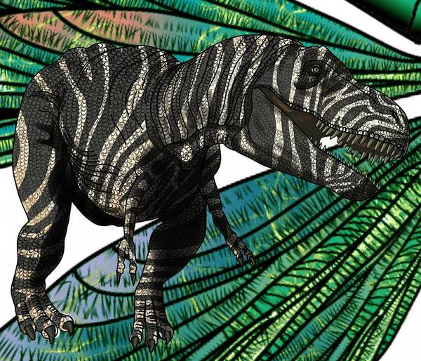 Drawing - Tyrannosaurus Takes Wings by Joan Stratton