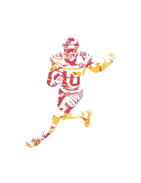 Wall Art - Mixed Media - Tyreek Hill Kansas City Chiefs Apparel T Shirt Pixel Art 1 by Joe Hamilton