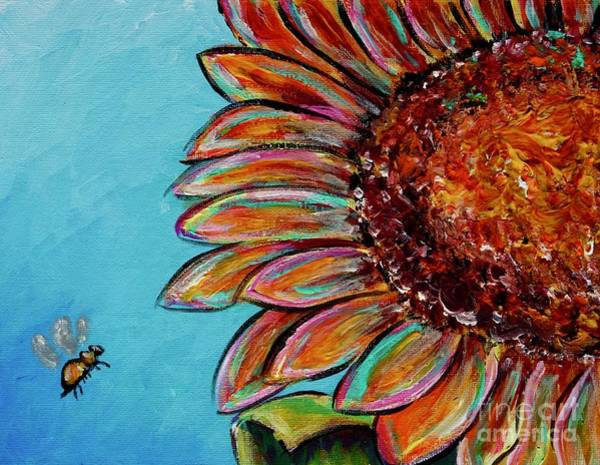 Painting - Sunflower With Bee by Jacqueline Athmann