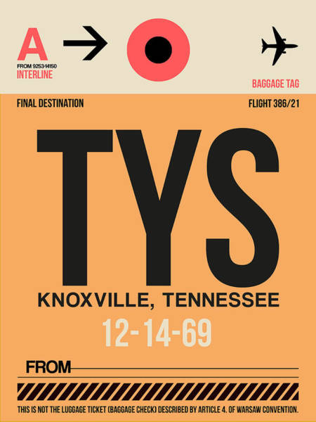 Wall Art - Digital Art - Tys Knoxville Luggage Tag I by Naxart Studio