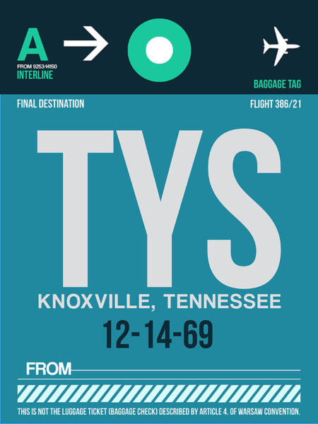 Wall Art - Digital Art - Tys Knoxville Luggage Tag II by Naxart Studio