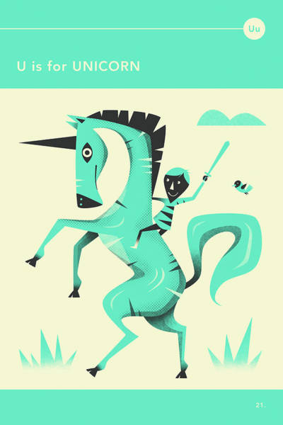 U Is For Unicorn 1 Art Print