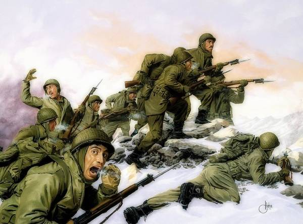 Wall Art - Painting - U. S. 65th Regiment's Bayonet Charge Against A Chinese Regiment by Dominic D'Andrea
