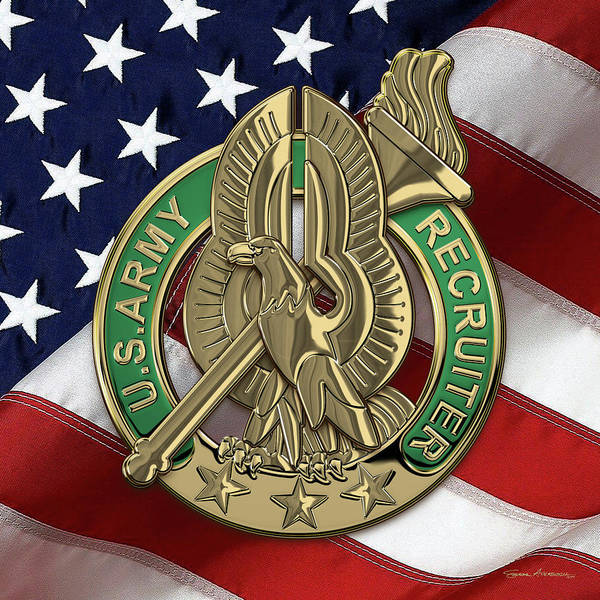 Digital Art - U. S.  Army Recruiter Identification Badge Over Flag by Serge Averbukh
