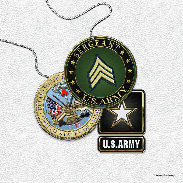 Digital Art - U. S. Army Sergeant   -  S G T  Rank Insignia With Army Seal And Logo Over White Leather by Serge Averbukh