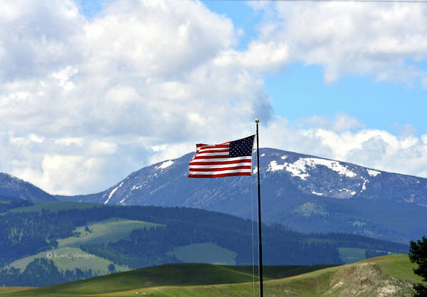 Photograph - U. S. Flag With Mt. Powell Behind by Kae Cheatham