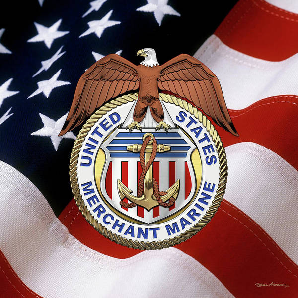 Wall Art - Digital Art - U. S.  Merchant Marine -  U S M M  Emblem Over American Flag by Serge Averbukh