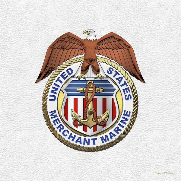 Wall Art - Digital Art - U. S.  Merchant Marine -  U S M M  Emblem Over White Leather by Serge Averbukh