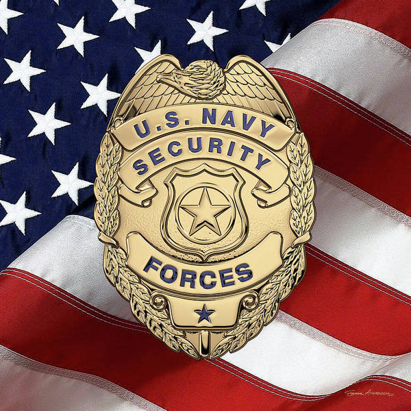 Wall Art - Digital Art - U. S.  Navy Security Forces - Master-at-arms  Badge Over American Flag by Serge Averbukh