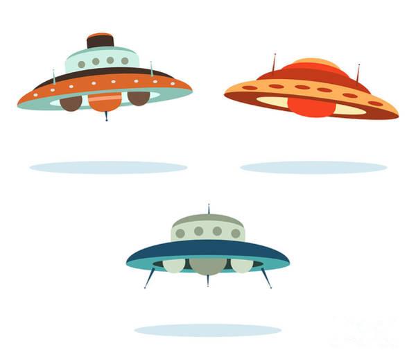 Wall Art - Digital Art - Ufo Alien Space Ships by Oculo