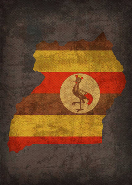 Uganda Wall Art - Mixed Media - Uganda Country Flag Map by Design Turnpike