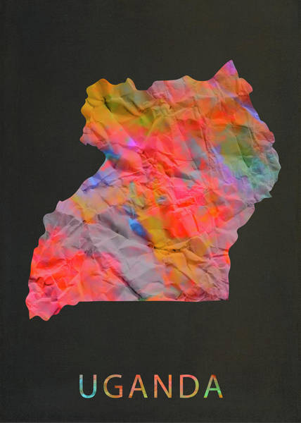 Uganda Wall Art - Mixed Media - Uganda Tie Dye Country Map by Design Turnpike