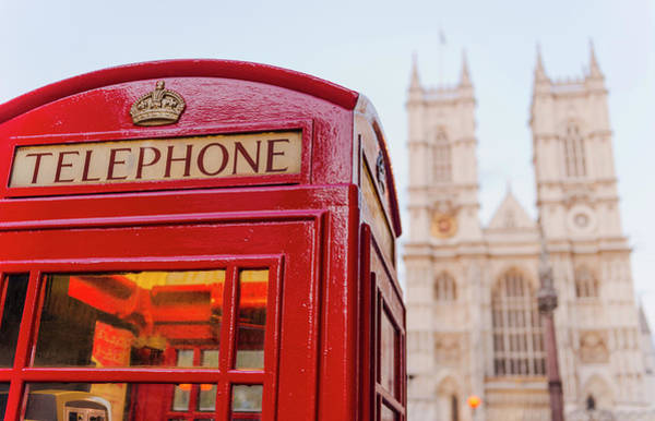 London Phone Booth Wall Art - Photograph - Uk, London, Phone Booth With by Tetra Images