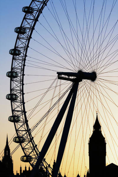 Silhouette Photograph - Uk, London, Silhouettes Of London Eye by Walter Bibikow