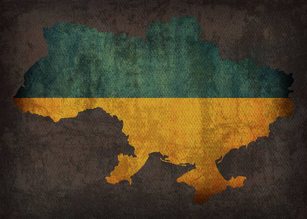Wall Art - Mixed Media - Ukraine Country Flag Map by Design Turnpike