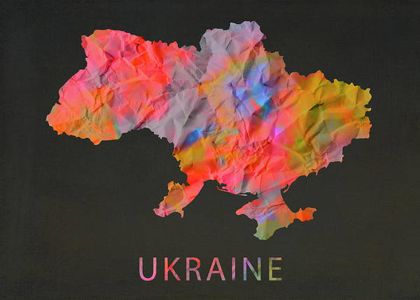 Wall Art - Mixed Media - Ukraine Tie Dye Country Map by Design Turnpike