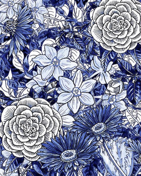 Wall Art - Painting - Ultramarine Blue Watercolor Botanical Flowers Garden Pattern I by Irina Sztukowski