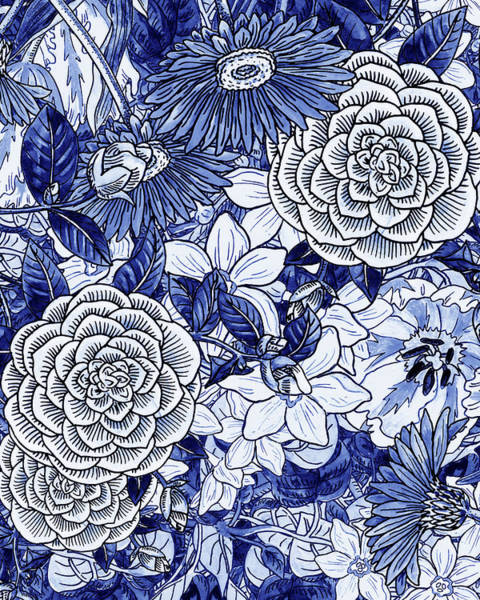 Wall Art - Painting - Ultramarine Blue Watercolor Botanical Flowers Garden Pattern II by Irina Sztukowski