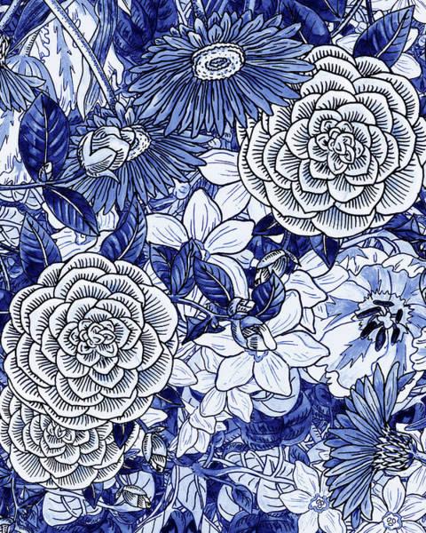 Painting - Ultramarine Blue Watercolor Botanical Flowers Garden Pattern II by Irina Sztukowski