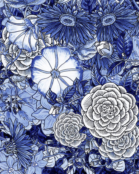 Wall Art - Painting - Ultramarine Blue Watercolor Botanical Flowers Garden Pattern IIi by Irina Sztukowski