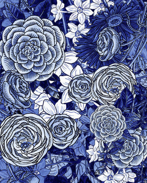 Wall Art - Painting - Ultramarine Blue Watercolor Botanical Flowers Garden Pattern Iv by Irina Sztukowski