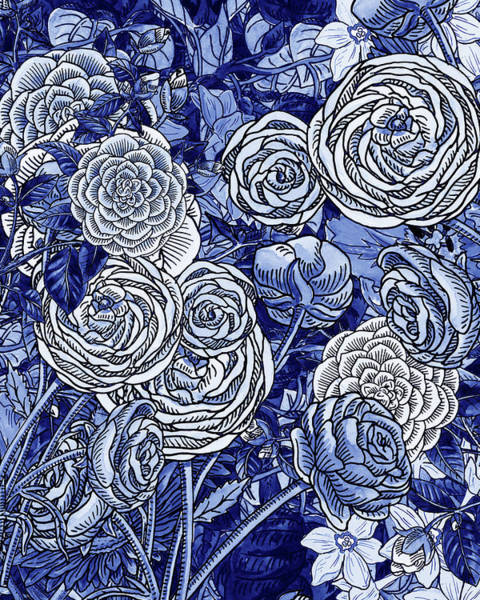Wall Art - Painting - Ultramarine Blue Watercolor Botanical Flowers Garden Pattern V by Irina Sztukowski