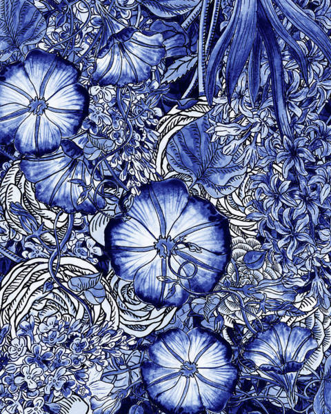 Wall Art - Painting - Ultramarine Blue Watercolor Botanical Flowers Garden Pattern Vi by Irina Sztukowski