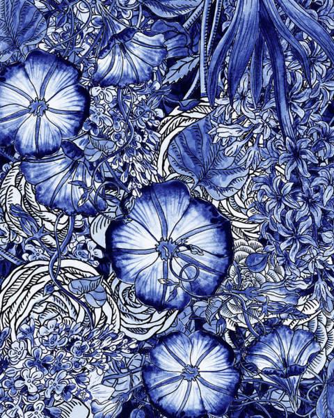 Painting - Ultramarine Blue Watercolor Botanical Flowers Garden Pattern Vi by Irina Sztukowski
