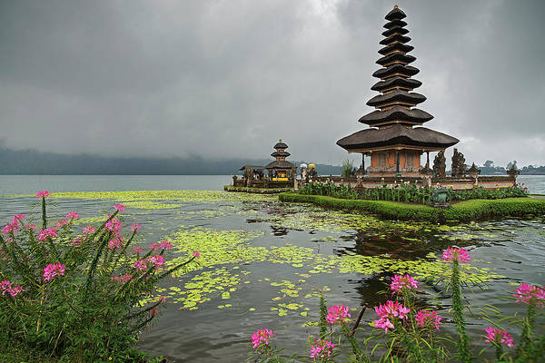 Bratan Photograph - Ulun Danu Temple With Flowers And Water by Andrew Tb Tan