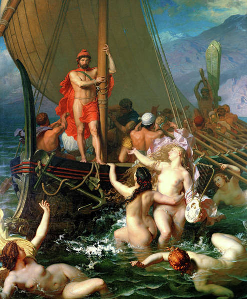 Ulysses And The Sirens Painting - Ulysses And The Sirens by Leon Belly