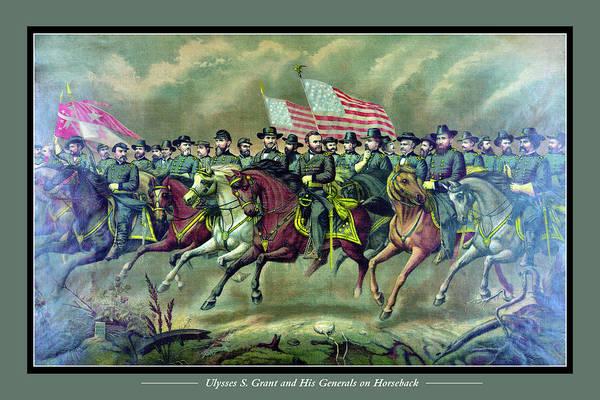 Us Civil War Digital Art - Ulysses S. Grant And His Generals On Horseback by Bob Wood